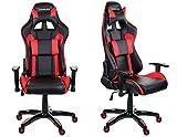 Giosedio GSA Rot/Schwarz Ergonomisch Verstellbarer Gaming PC Stuhl Schreibtischstuhl Chefsessel mit Armlehnen Racing Bürostuhl Komfortabler Bürostuhl in sportlicher Racer Optik