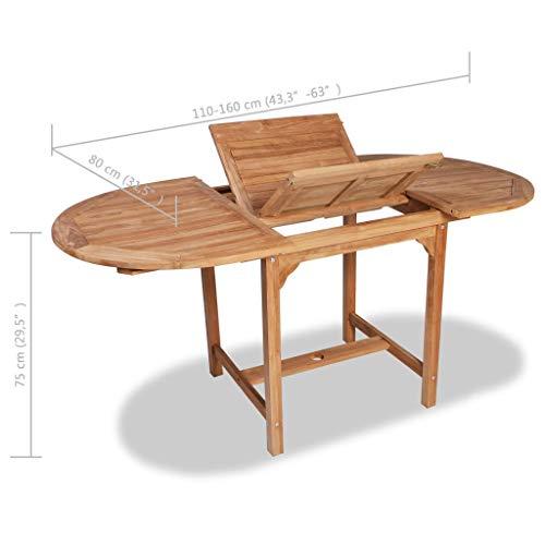 Festnight- Ausziehtisch Teakholz (110-160) cm Oval | Ausziehbarer Esstisch | Massivholz Gartentisch | Wetterfest Holztisch für Garten Terrasse Balkon Outdoor
