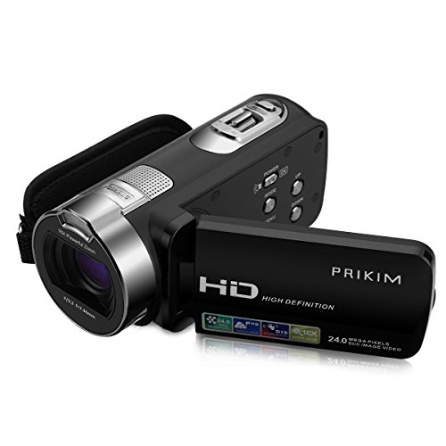 PRIKIM Videokamera Camcorder Full HD 1080P 24MP 16X Digitalzoom Kamera mit 2,7