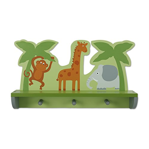 Hoddmimis Home & Living 3 Peg Hooks Wall Mounted Coat Rack MDF with Shelf (Animal Graphics)