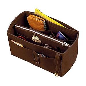 [Passt IENA MM, Dunkelbraun] Filz Organizer (mit abnehmbaren mittleren Zipper Bag), Tasche in Tasche, Wolle Geldbörse…
