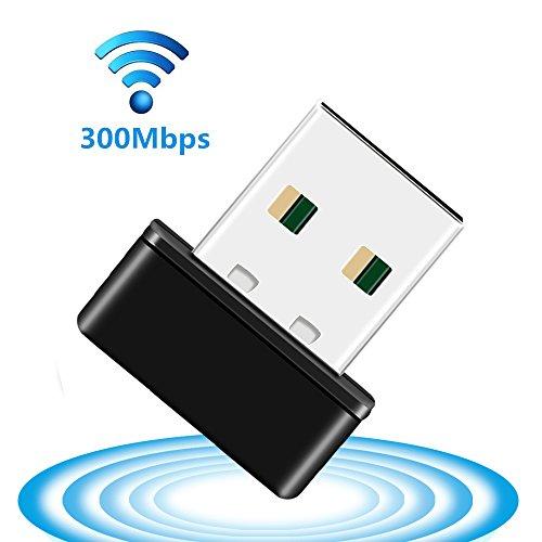 Eatpow 300Mbps Dongle WiFi 2.4G 802.11N Wireless USB LAN adattatore/adattatori con interno ad alta potenza antenna e supporto Win7/8/10sistema per PC/laptop/tablet. nero black 150Mbps