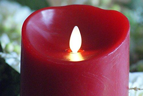 Luminara vela LED de cera D 8 x H 23 cm de colour rojo