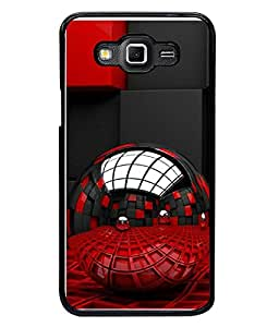 FUSON Designer Back Case Cover for Samsung Galaxy Grand Max G720 (Red Black Artistic Blocks Pattern)