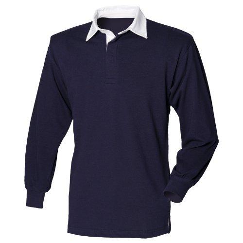 Front Row Langarm Klassisches Rugby-Shirt, 14 Farben, Klein b - Navy/White - 4XL (Stärken Klassische Print)