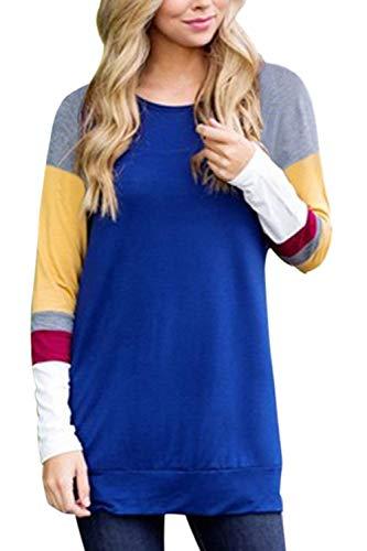 Oberteile Frauen Im Herbst Pullover Farbe Block Sweatshirt Perfect Blusen Langarm Rundhals Streifen Shirt T Shirts Style (Color : Blau, Size : M)