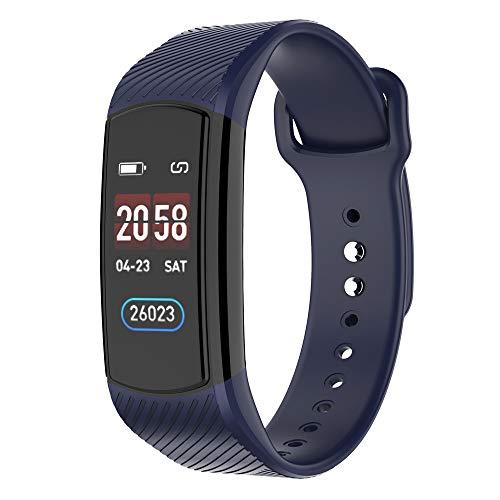 Happy-day Damen Smart Watch Sport Fitness Activity Herzfrequenz-Tracker Blutdruck-Uhr Schlaf-Monitor, Nachrichten und Anruf-Benachrichtigung S blau