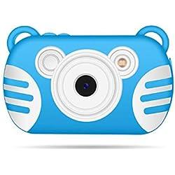 XIONGDA Caméra HD étanche pour Enfants sous-Marine Mini Action Video 8X Caméscope numérique Antichoc Antichute avec Flash et Microphone Adapté aux Enfants Garçons Filles,Blue