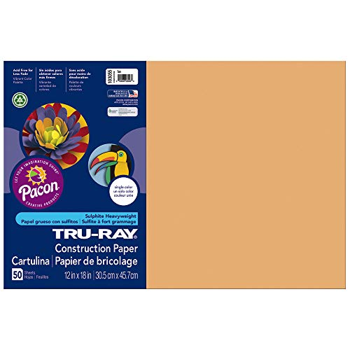Tru-Ray Construction Paper, 76 lbs., 12 x 18, Tan, 50 Sheets/Pack