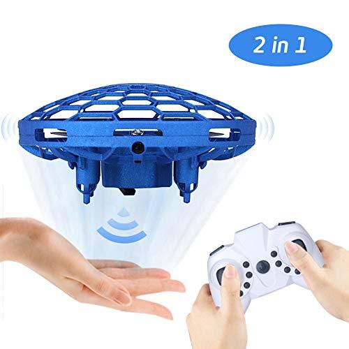2 in 1 Mini Drohne UFO Spielzeug RC Fliegender Ball mit LED Licht Fernbedienung Fliegendes Spielzeug mit Fernbedienung Infrarotsensor Quadcopter Fliegen Spielzeug Geschenke Indoor Outdoor(Blau)