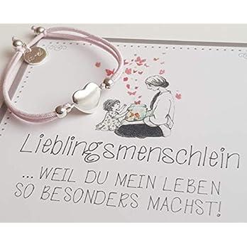 Herz Stretcharmband 925 silber Geschenkkarte