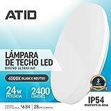 Lámpara de Techo LED 24W IP54 Impermeable Plafón Delgado para Baño Cocina Dormitorio Habitaciones, Luz Led...