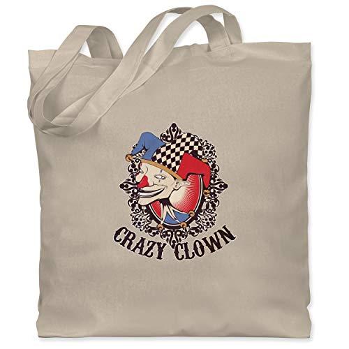 Komiker Kostüm Der Zubehör - Shirtracer Karneval & Fasching - Crazy clown - Unisize - Naturweiß - WM101 - Stoffbeutel aus Baumwolle Jutebeutel lange Henkel