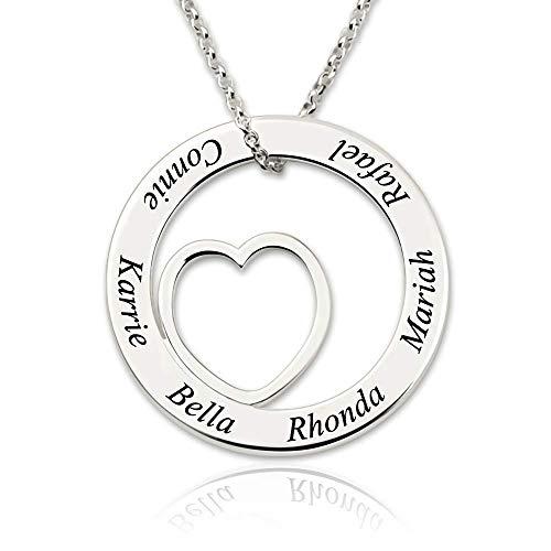 Personalisierte Familie Name Halskette Custom Heart Charm Anhänger Mutter Schmuck Sterling Silber Rose Gold Gravierte Anhänger Mütter Geschenke (Halskette Charms Personalisierte)