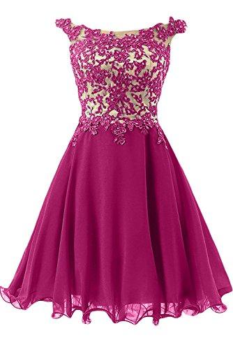 Royaldress Rosa spitze Aermellos Abendkleider Partykleider A-linie Prinzess Promkleider Festlichkleider Neuheit Fuchsia Kurz