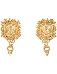 SKN 22kt Gold Plated Copper Metal Daily Wear Stud Earrings For Women & Girls (SKN-1701)