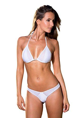 Sexy Triangel Bikini Bademode Damen - Bounty - DREI Teilen : (Brasilien + String + top) Bi-Material Weiß Größe Unter : 34/36 - BH : 65A/65B/65C/70A/75A/70B Sexy Brasilien