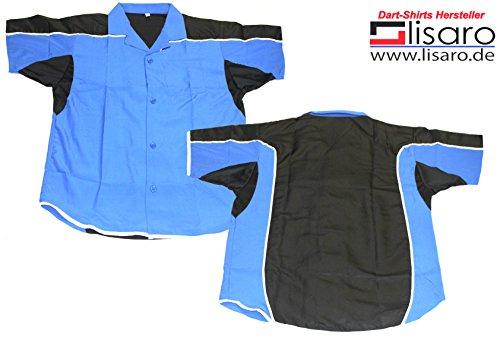 Lisaro Darthemd/Bowlinghemd blau-schwarz (4XL)