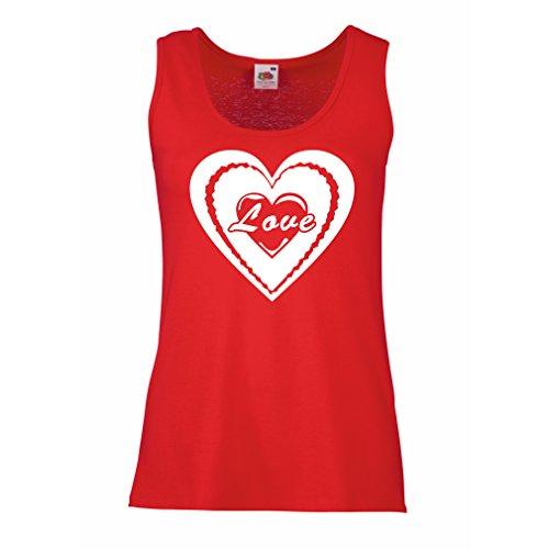 """Femme Débardeur Sans manche """"Je t'aime - cadeaux de jour de Valentines"""" grands cadeaux Rouge Blanc"""