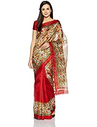Womanista Women's Printed Art Silk Sari With Blouse Piece(FSP408_Off White And Red_Free Size)