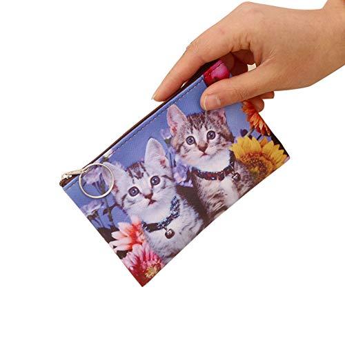YUnnuopromi Geldbörse mit süßem Katzen-Muster, Kunstleder, Geldbörse, Clutch, Schlüssel, Kartenhalter