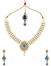 Dancing Girl Kundans Bridal Blue Metal Alloy Jewellery Set With Necklace Earring And Maang Tikka For Women