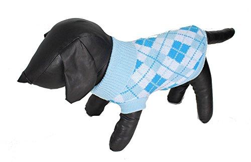 Adorable perros pequeños bebé azul y blanco Argyle Imprimir lana Jersey cuello vuelto–disponibles x pequeñas–X LARGE