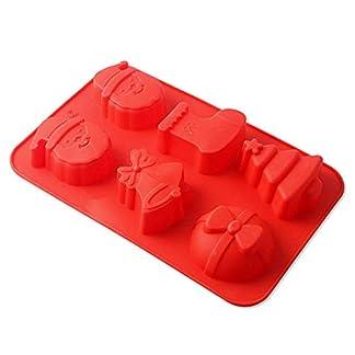 Cosanter 1 Molde de Silicona para Hornear con temática navideña, Reutilizable, Antiadherente, para Fondant