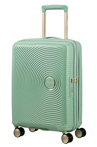 American Tourister Soundbox - Spinner Small Expandable Bagaglio a mano, 55 cm, 41 liters, Verde (Almond Green/Gold)