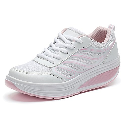 SAGUARO® Keilabsatz Plateau Sneaker Mesh Erhöhte Schnürer Sportschuhe Laufschuhe Freizeitschuhe für Damen Rosa 35 EU