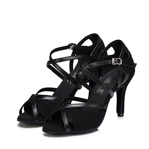 Latin Dance Alto Sandali Wgwioo Ballroom Donna Tango Shoes Fibbia Salsa Tacco In A Scarpe Pelle Soft Soles Scamosciata Nero rtawqdYWw