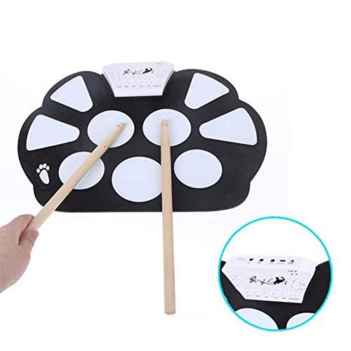 JYL USB-E-Drum-Set, 9 Pads Junior-E-Drum-Übungspads mit Drumsticks - Roll-Up-Drum-Kit mit Aufnahmefunktion für Anfänger