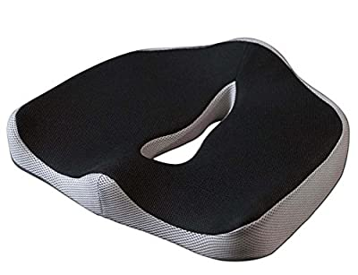 BNT 2016 Newest High Density Memory Foam Car/Office Seat Cushion Chair Pads for Lower Back, Tailbone and Sciatica Pain Relief Use for Wheelchair Office Kitchen Chair (Black&Gray) - inexpensive UK light shop.