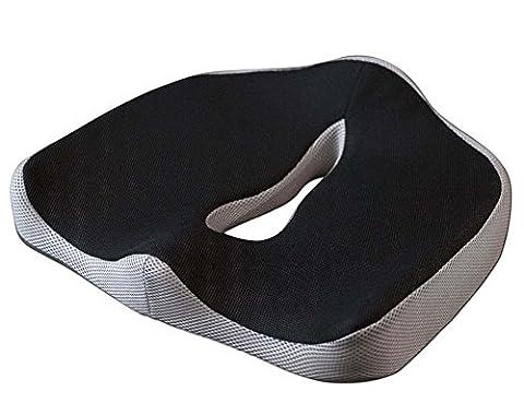 BNT Coussin de siège orthopédique avec épaisseur de gel innovant réduisant la douleur et cœur en mousse à mémoire de forme supportant le bas du dos, favorise une posture d