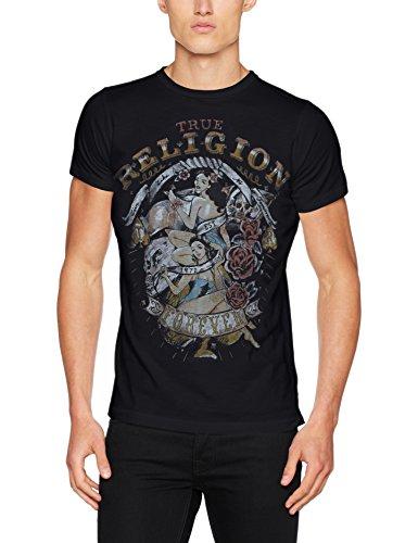 True Religion Herren T-Shirt SS Pinup Black, Schwarz (Black 1001), Medium