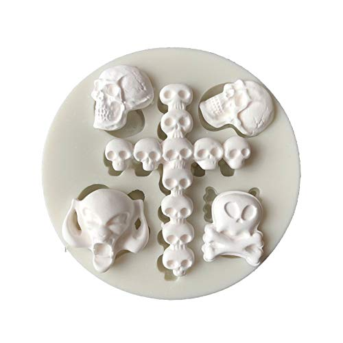 ZHOUBA Halloween Totenkopf DIY Form Fondant Kuchen Zuckerguss Silikon Dekoration Werkzeug weiß (Halloween-schablonen Für Cupcakes)