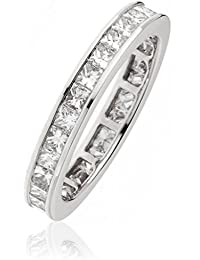 1.60CTS Certified G/VS2 Princess Cut Full Eternity Ring in 18k White Gold