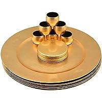 Platos de sitio y posavasos y servilleteros - dorados - Set de 18