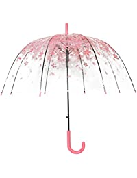 Demi-automatique Parapluie Cerise Clair - Fleur Bubble Forme du dôme Parapluie de pluie - Champignons transparents Type Parapluie romantique - Lovin