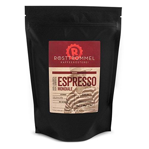 Espressobohnen MONDIALE - Rösterei des Jahres 2017 - zartbitterschokoladig, kräftig, cremig - handgeröstete ganze Kaffee-Bohnen für Vollautomaten und Siebträger - kräftige Crema - wenig Säure - Premium Espresso-Bohnen