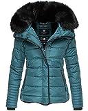 Marikoo Damen Winter Jacke Herbst Stepp Kurz Parka warm gefüttert Laureen 5 Farben XS - XL (L, Petrol Blue)