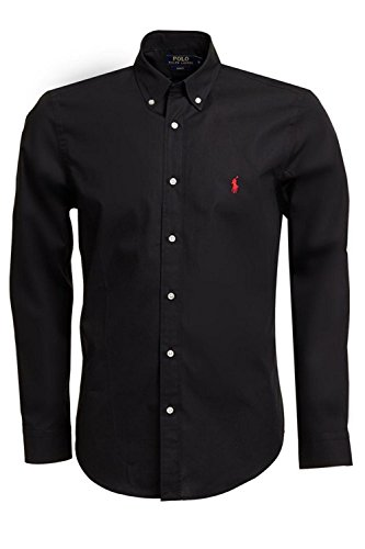 Ralph Lauren camicia da uomo Slim Fit a maniche lunghe nero s