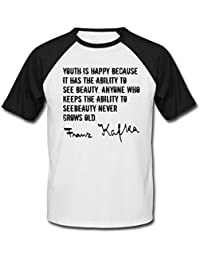 Teesquare1st Men's FRANZ KAFKA YOUTH QUOTE New cotton Black Short Sleeved T-shirt