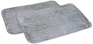 Amazon Brand - Solimo Anti-Slip Microfibre Bathmat, 40cm x 60cm - Pack of 2 (Grey)