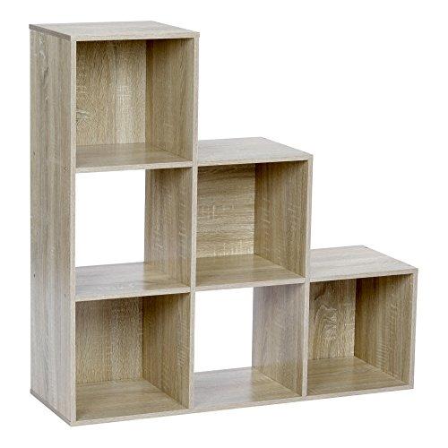ts-ideen Stufenregal Design Regal 6 Fächer Standregal Bücherregal CD-Regal Aufbewahrung Holz Eiche...