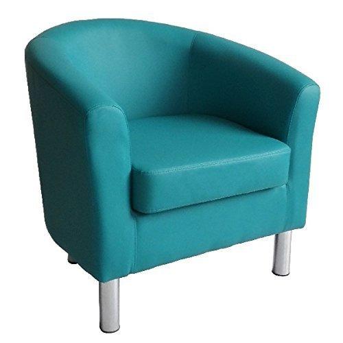 Sedia per vasca da bagno, design moderno, in finta pelle con gambe cromate casa, ufficio, salotto, sala da pranzo da Reception, colore: blu acqua
