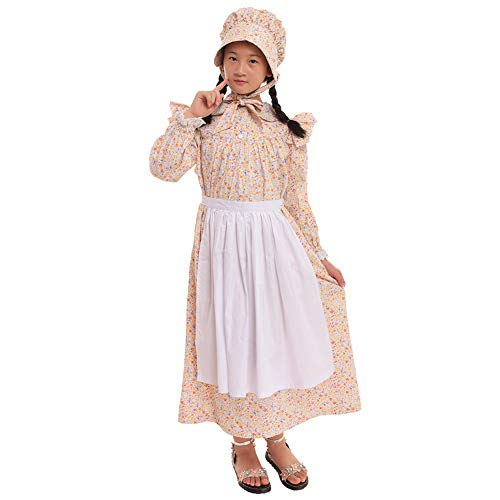 GRACEART Mädchen viktorianisch Kostüm Prairie Kleid 100% Baumwolle (4 Farben Option) (Wheat, US-8)