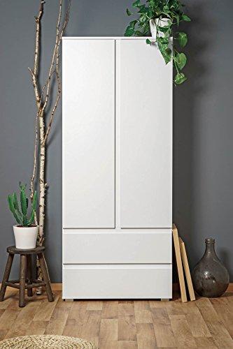 *lifestyle4living Mehrzweckschrank, weiß, 80cm breit, 2 türig, 2 Schubladen & 3 Einlegeböden | Griffloser zweitüriger Aufbewahrungsschrank, 190 cm hoch, 40 cm tief*