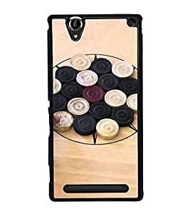 PrintVisa Designer Back Case Cover for Sony Xperia T2 Ultra :: Sony Xperia T2 Ultra Dual SIM D5322 :: Sony Xperia T2 Ultra XM50h (Carams Coins Board Red Striker Wood)