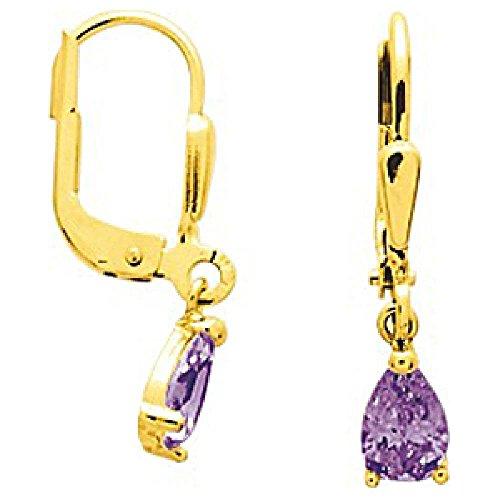 So Chic Schmuck - Damen-Ohrringe Brisuren Tropfen Amethyst Violett 5 mm - Gelbgold 750/000 (18 Karat) (Bischofs Kleid Blau)